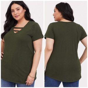 Torrid Premium Olive Ladder V-Neck Tee Shirt - 2X